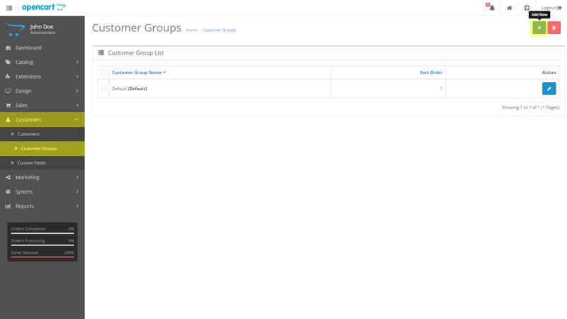 Creating customer groups in OpenCart
