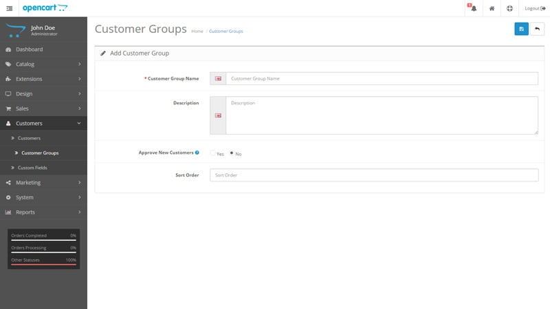OpenCart Customer Groups
